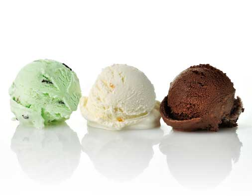 Different flavours of ice cream
